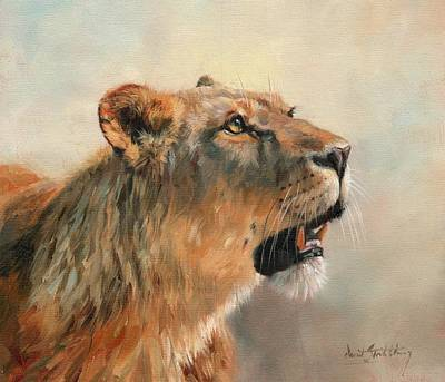 Poster featuring the painting Lioness Portrait 2 by David Stribbling