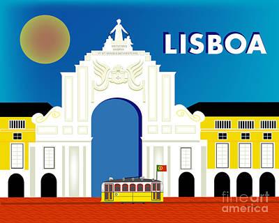 Lisboa Lisbon Portugal Horizontal Scene Poster by Karen Young