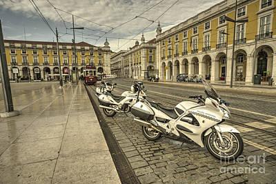 Lisbon Police Bikes  Poster by Rob Hawkins