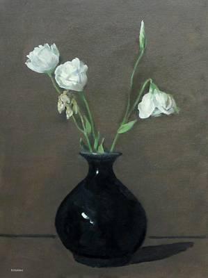 Lisianthus In Black Vase Poster