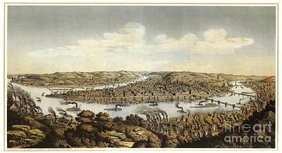 Lithograph Showing Bird's-eye View Of The City Of Pittsburgh Poster