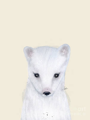 Poster featuring the painting Little Arctic Fox by Bri B
