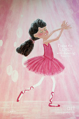 Little Ballerina With Bible Verse Poster by Cheryl Rose