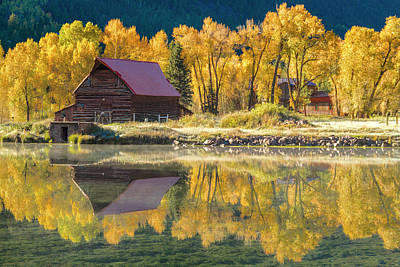 Little Barn By The Lake Poster by Teri Virbickis