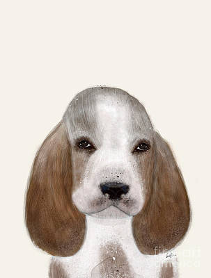 Poster featuring the painting Little Basset Hound by Bri B