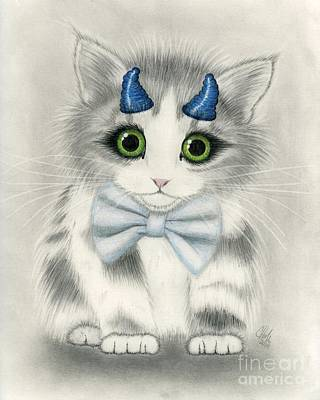 Poster featuring the drawing Little Blue Horns - Devil Kitten by Carrie Hawks