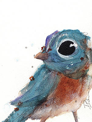 Poster featuring the painting Little Bluebird by Dawn Derman