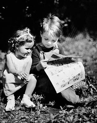 Little Boy & Girl Reading Comic Strips Outside Poster