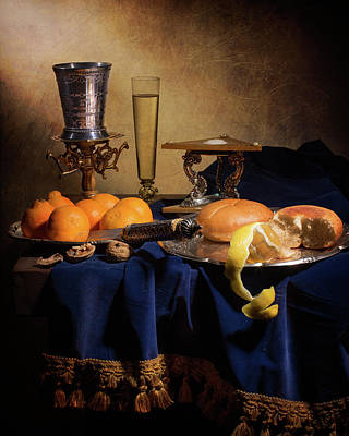Little Breakfast With Oranges-bread-salt Cellar And Silver Cup Poster