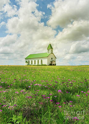 Poster featuring the photograph Little Church On Hill Of Wildflowers by Robert Frederick