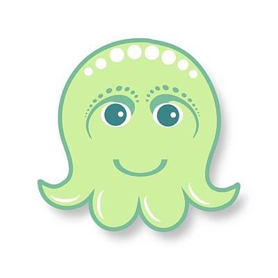 Little Cute Green Octopus Poster