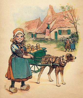 Little Dutch Girl With Milk Wagon Poster by Reynold Jay