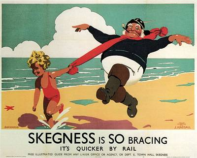 Little Girl And Old Man Playing On The Beach In Skegness, Lincolnshire - Vintage Advertising Poster Poster