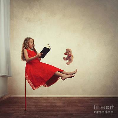 Little Girl Reading To Her Teddy Bear Poster by Amanda Elwell