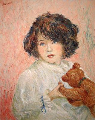 Little Girl With Bear Poster