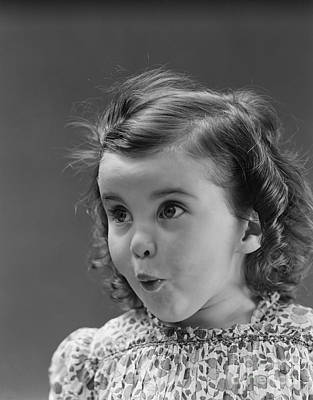 Little Girl With Surprised Expression Poster by H. Armstrong Roberts/ClassicStock