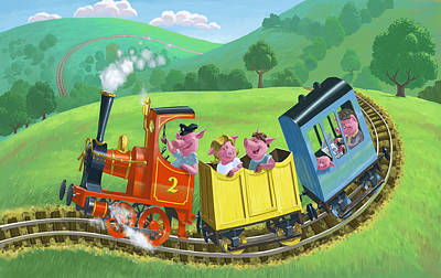 Little Happy Pigs On Train Journey Poster by Martin Davey