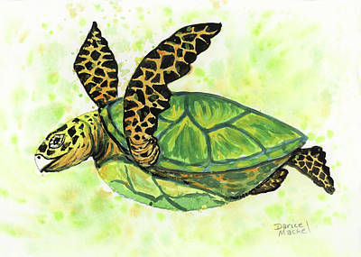 Poster featuring the painting Little Honu by Darice Machel McGuire