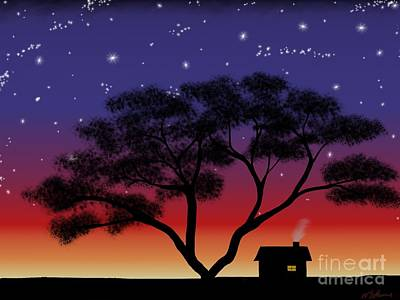 Little House At Sunset Poster