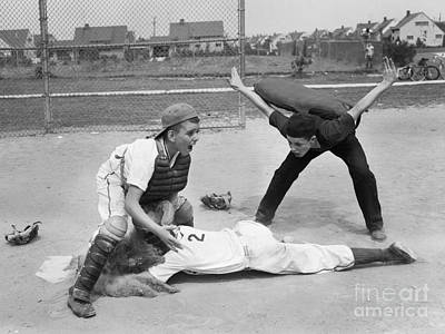 Little League Umpire Calling Safe Poster by Debrocke/ClassicStock