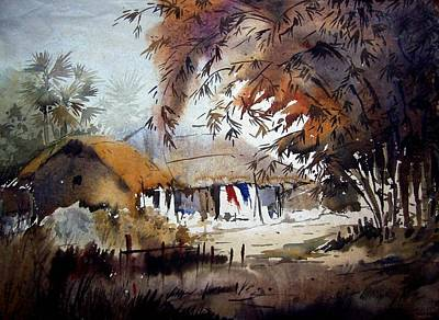 Poster featuring the painting Little Light At The Village by Samiran Sarkar