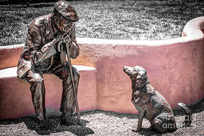 Little Old Man And Dog Statue Poster by Julian Starks