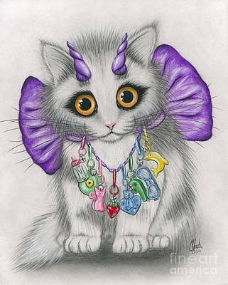Poster featuring the mixed media Little Purple Horns - 1980s Cute Devil Kitten by Carrie Hawks