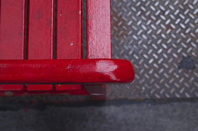 Little Red Bench Poster by Henri Irizarri