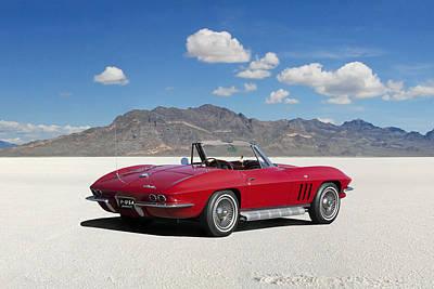 Poster featuring the digital art Little Red Corvette by Peter Chilelli