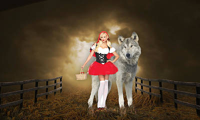 Poster featuring the mixed media Little Red Riding Hood And The Big Bad Wolf by Marvin Blaine