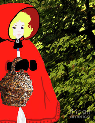 Little Red Riding Hood In The Forest Poster by Marian Cates