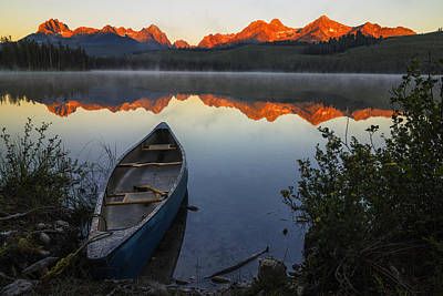 Little Redfish Lake And Canoe In Stanley Idaho Usa Poster by Vishwanath Bhat