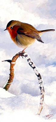 Poster featuring the painting Little Robin Redbreast by James Shepherd