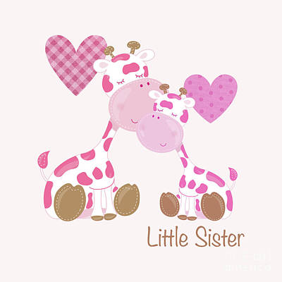 Little Sister Cute Baby Giraffes And Hearts Poster by Tina Lavoie