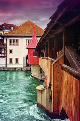 Little Wooden Bridge In Lucerne Switzerland  Poster