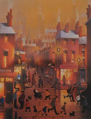 Liverpool Street Scene.home Before Dark Poster by Raymond Alfred Gilronan