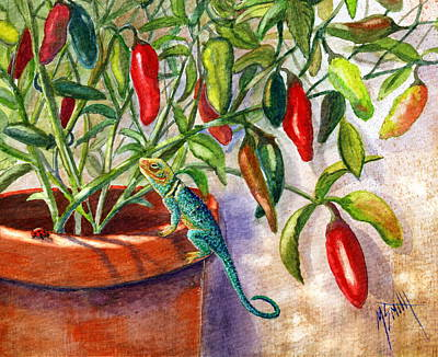 Lizard In Hot Sauce Poster by Marilyn Smith