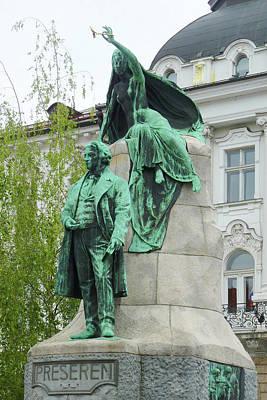 Ljubljana's Preseren Monument Poster by Carla Parris
