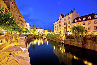 Ljubljanica River Waterfront In Ljubljana Evening View Poster by Brch Photography