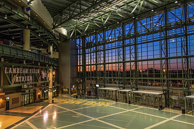 Poster featuring the photograph Lambeau Field Atrium Sunset by Joel Witmeyer