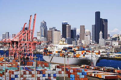 Loaded Container Ship In Seattle Harbor Poster