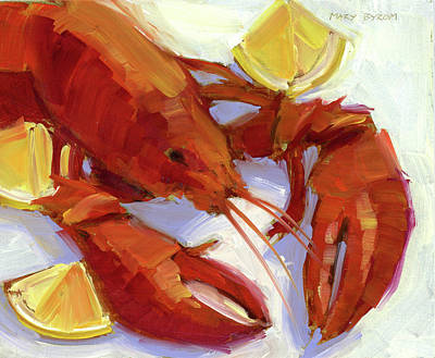 Lobster And Lemons Poster by Mary Byrom