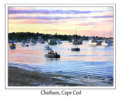 Lobster Boats At Twilight Cape Cod Poster by Daphne Sampson
