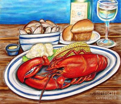 Poster featuring the pastel Lobster Dinner by Patricia L Davidson
