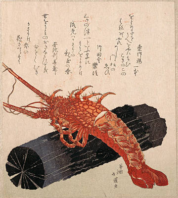 Lobster On A Piece Of Charcoal Poster by Totoya Hokkei