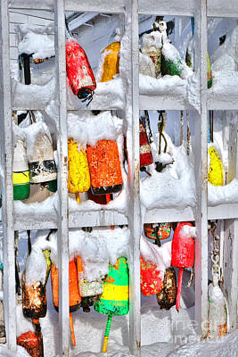 Lobster Trap Buoys In Winter Poster