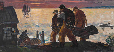 Lobstermen On The Shore Poster by Gifford Beal