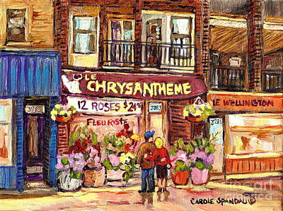 Local Flower Shop Le Chrysantheme Verdun Montreal Summer City Scene Canadian Art Carole Spandau      Poster by Carole Spandau