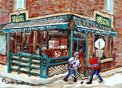 Local Grocery Store Fruits Soleil Verdun Store Painting Street Hockey Canadian Art Carole Spandau Poster by Carole Spandau