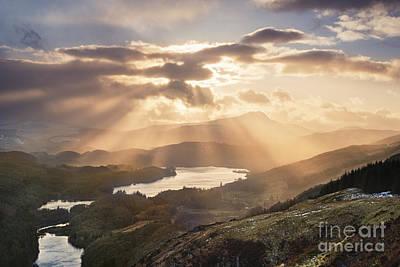 Loch Ard Sunburst 1 Poster by Rod McLean